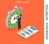 flat isometric businessman move ... | Shutterstock .eps vector #447897502