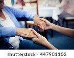 nurse taking care of a senior... | Shutterstock . vector #447901102