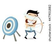 blindfolded businessman aiming... | Shutterstock .eps vector #447901882