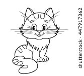 Stock vector coloring page outline of cartoon fluffy cat coloring book for kids 447917362