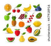 set of different fruits and... | Shutterstock .eps vector #447918916
