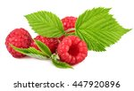 Raspberries With Leaves On White