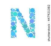 dotted letter n. vector... | Shutterstock .eps vector #447921382