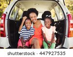 happy family posing together at ... | Shutterstock . vector #447927535