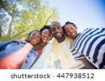 happy family posing together at ... | Shutterstock . vector #447938512