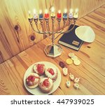 jewish holiday hanukkah with... | Shutterstock . vector #447939025