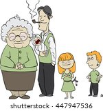 grandmother  dad smoking a pipe ... | Shutterstock .eps vector #447947536
