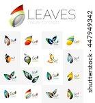 leaf logo set. vector... | Shutterstock .eps vector #447949342