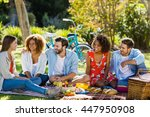 friends having fun in park on a ... | Shutterstock . vector #447950908