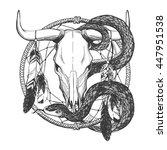 bull skull with feathers  snake ... | Shutterstock .eps vector #447951538