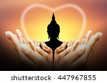 human hands protect silhouette... | Shutterstock . vector #447967855