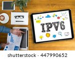 Small photo of IPV6 Internet Protocol larger address space Businessman working at office desk and using computer and objects, coffee, top view