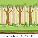 cartoon forest with flowers... | Shutterstock .eps vector #447997702
