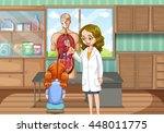 doctor explaining human anatomy ... | Shutterstock .eps vector #448011775