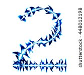 number 2 from blue fire on... | Shutterstock . vector #448012198