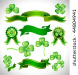 vector green ribbon with clover | Shutterstock .eps vector #44804941
