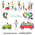 travelling autostop flat. set...   Shutterstock . vector #448062895