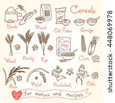 set drawings of cereals for... | Shutterstock .eps vector #448069978