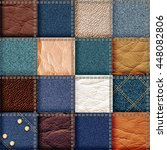 leather and jeans patchwork... | Shutterstock . vector #448082806