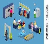 bank services concept interior... | Shutterstock .eps vector #448102858