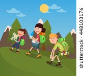 happy family weekend hiking on...   Shutterstock .eps vector #448103176