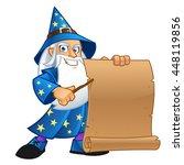 friendly wizard  wearing a... | Shutterstock .eps vector #448119856