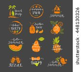 set of hand drawn labels and...   Shutterstock .eps vector #448130326