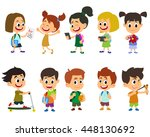 group of kids going to school... | Shutterstock .eps vector #448130692