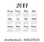 one page calendar 2017 with...   Shutterstock .eps vector #448135525