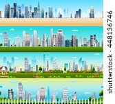 seamless skyscraper building... | Shutterstock .eps vector #448136746