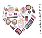 set of cosmetics in heart shape ... | Shutterstock .eps vector #448141312