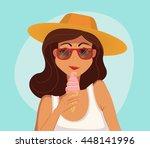 summer girl eating a ice cream. ...   Shutterstock . vector #448141996
