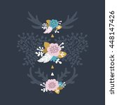 floral wreaths and laurels with ... | Shutterstock .eps vector #448147426