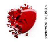 Red Heart Broken 3d Illustration