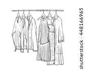 Stock vector hand drawn wardrobe sketch clothes 448166965