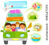 family traveling in a car plus...   Shutterstock .eps vector #448167292