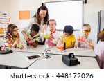 pupils doing science with a... | Shutterstock . vector #448172026
