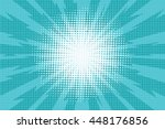 Blue pop art retro background with exploding rays of lightning comic style, vector illustration | Shutterstock vector #448176856