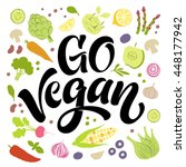 go vegan vector lettering with... | Shutterstock .eps vector #448177942