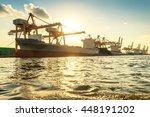 industrial port in morning | Shutterstock . vector #448191202