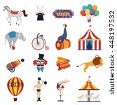 circus decorative icons set... | Shutterstock .eps vector #448197532