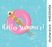 summer fun   woman sunbathing... | Shutterstock .eps vector #448200406