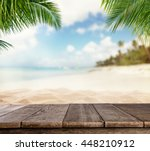 empty wooden planks with blur... | Shutterstock . vector #448210912