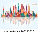 asia skyline detailed... | Shutterstock .eps vector #448215826