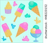 ice creams isolated on blue... | Shutterstock .eps vector #448223152