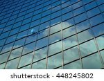 airplane reflect on a glass... | Shutterstock . vector #448245802