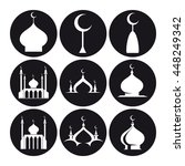 black and white islamic mosque...   Shutterstock .eps vector #448249342