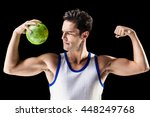 confident athletic man holding... | Shutterstock . vector #448249768