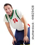 Happy basketball player resting Isolated on white - stock photo