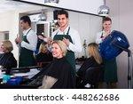 positive dark haired man doing... | Shutterstock . vector #448262686